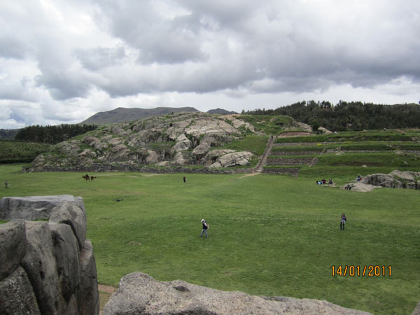Lava hill opposite the walls of Sacsayhuaman