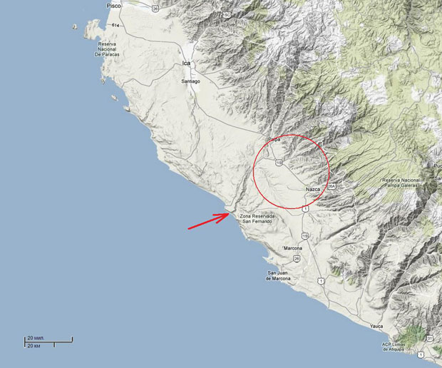 A regional map of the coast from Paracas and Ica in the north to the Atiquipa hills in the south (from